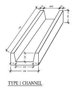Type 1 Sketch of Concrete Pre-Cast Trapezoidal Channel